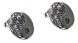 budawi® – Ohrstecker Yin Yang & Blume des Lebens Ø 12 mm, 925er Sterling Silber, Blume des Lebens, Silber Ohrringe