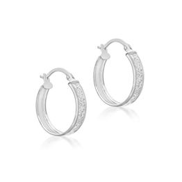 Carissima Gold Damen-Creolen 9ct White Stardust Creole Earrings 375 Weißgold-5.51.1159 -