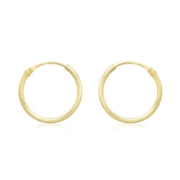 Carissima Gold Damen-Creolen 9ct Yellow 13mm Sleeper Hoop Earrings 375 Gelbgold-1.53.9799 -