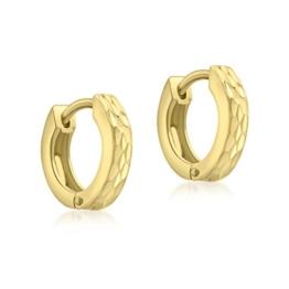 Carissima Gold Damen-Creolen 9ct Yellow Diamond Cut Pyramid Creole Earrings 375 Gelbgold-1.51.0919 -
