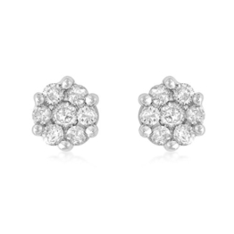 Carissima Gold Damen-Ohrstecker 9ct White Diamond Cluster Stud Earrings 375 Weißgold Diamant (0.25 ct) transparent Rundschliff-5.58.705Y -