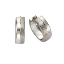 Celesta Damen-Klappcreolen 333 Weißgold matt/diamantiert 13.5 mm 311310091-4 -