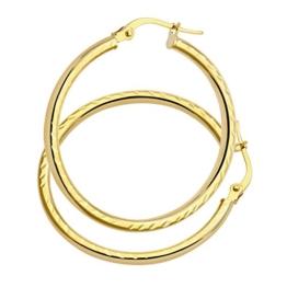 Citerna Damen Creole 9 Karat (375) Gelbgold AR057Y Seite Ohrringe Kreolen mit Diamantschliff -