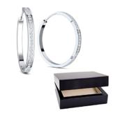 Creolen dünn schmal Diamanten Ersatz (Zirkonia) Amazon Design Silber Ohrringe Zirkonia 925 + inkl. Luxusetui + Kreolen xxl modern Jugentliche Zirkonia weiß Ohrringe FF153-0 SS925ZIFA -