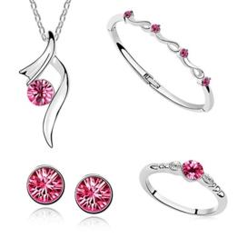 Damen Schmuck Set Halskette mit Anhänger Ohrstecker Ring Armband Zirkonia Kristall 18K Weißgold plattiert pink -