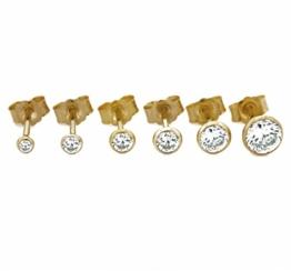Einzelne Unisex Ohrstecker 585 Gelbgold Durchmesser 2,50mm - 5,50mm Zirkonia Ohrringe NEU (18175) (4 Millimeter) -