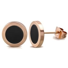 Elegante schlicht klassische runde Damen Ohrstecker Ohrringe Edelstahl Rosegold / Schwarz 10mm -