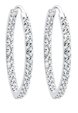 Elli Damen-Creolen 925 Sterlingsilber mit Kristallen von Swarovski -