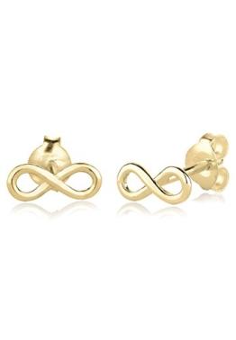 Elli PREMIUM Damen-Ohrstecker Infinity Klassiker 375 Gelbgold - 0312380814 -