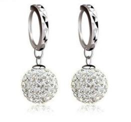 Fashmond KindertagGeschenke Kugel Design Ohrgehänge Creolen für Damen Mädchen 925 Sterling Silber Kristall -