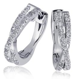Goldmaid Damen-Creolen Linien 585 Weißgold 60 Diamanten 0,24ct -