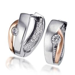 Goldmaid Damen-Creolen Silber 925 rot-weiss Optik ein Zirkonia -