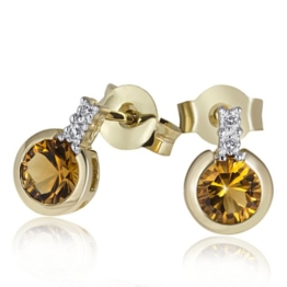 Goldmaid Damen-Ohrstecker 9 Karat 375 Gelbgold 2 Citrin 4 Diamanten 0,02 ct. Fa O2944GG375 -
