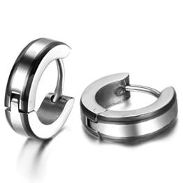 JewelryWe Schmuck Herren Ohrringe, 4MM Breit Einfach Glatt Creolen Ohrstecker, Edelstahl, Schwarz Silber -