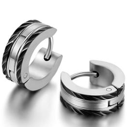 JewelryWe Schmuck Herren-Ohrringe, Edelstahl Creolen Gestüt Ohrstecker, Schwarz Silber -