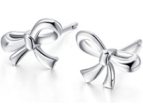 joyfulshine Damen Fashion Tiny Schleife Ohrstecker Sterling Silber