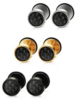 Jstyle 3 Paare Edelstahl Ohrstecker Creolen Tunnel Ohrringe Ohrschmuck Modeschmuck Ohranhänger für Damen Herren -