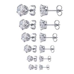 Jstyle Edelstahl Damen Herren Ohrstecker CZ Zirkonia Silberfarbe Elegant Ohrschmuck Set (6 Paare) Durchmesser 3-8mm -