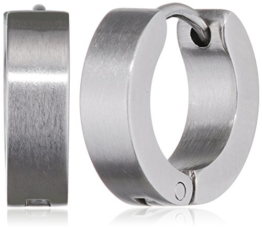 Klassische Creolen Ohrringe Ohrhänger Silber Matt. Klapp-Creolen Edelstahl 4mm breit. Ohrschmuck für Damen und Herren 2 Stück (1 Paar) -