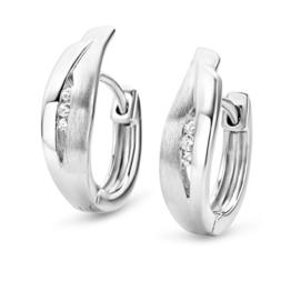 Miore Damen-Creolen 925 Sterling Silber 6 Zirkonia farblos 17 mm -