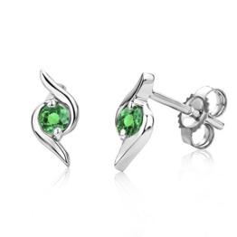 Miore Damen-Ohrring 9 Karat (375) Weißgold Smaragd -