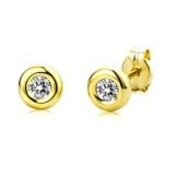 Miore Damen-Ohrstecker 375 Gelbgold 2 Zirkonia 9ct farblos 5.5 mm -