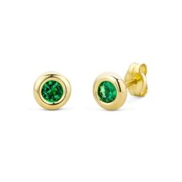Miore Damen-Ohrstecker 375 Gelbgold Smaragd grün Rundschliff -
