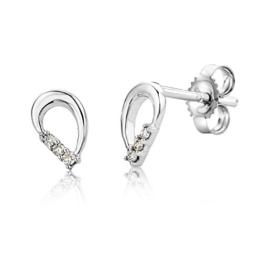 Miore Damen-Ohrstecker 375 Weißgold rhodiniert Diamant (0.04 ct) weiß Rundschliff - UNI008EW -