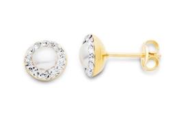 Miore Damen-Ohrstecker 9 Karat (375) Gelbgold Perlen und Swarovski Element MA9072E -
