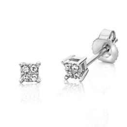 Miore Damen-Ohrstecker 9 Karat (375) Weißgold Diamant weiß -