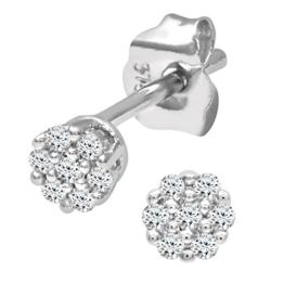 Naava 9k Weißgold 0,07 Karat Diamant Ohrringe -