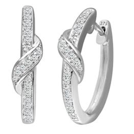 Naava Damen-Creolen 9k besetzte extravagante Kreolen 375 Weißgold rhodiniert Diamant (0.22 ct) weiß Rundschliff - PE03600W -
