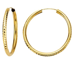 Ohrringe, Creolen, Gelbgold 585 / 14 K, Außendurchmesser 20 mm, Breite 2.5 mm, Gewicht ca. 1.1 g., NEU -