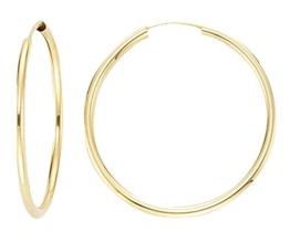 Ohrringe, Creolen, Gelbgold 585 / 14 K, Außendurchmesser 20 mm, Breite 2 mm, Gewicht ca. 0.8 g., NEU -