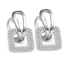 Ohrringe Damen Mädchen 925er Sterling Silber Geometrie Stil mit Zirkonia Hypoallergen Creolen Clips -