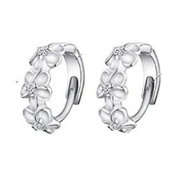 Omos Damen 925 Sterling Silber Blumen Ohrclip Creole Ohrstecker Hoop Earring -