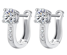 Omos Damen 925 Sterling Silber Diamant Blumen Ohrclip Creole Ohrstecker Hoop Earring -