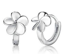 Summens Creolen Blumen Ohrringe Hypoallergen 925 Sterling Silber Geschenk für Mädchen Kinder Damen -