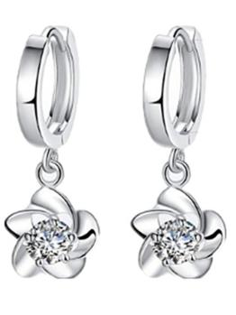 Summens Creolen Lang Creolen Ohrhänger Blumen Ohrringe Hypoallergen 925 Sterling Silber Geschenk für Mädchen -