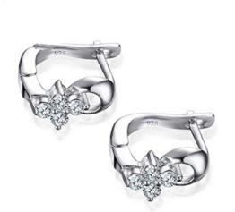 Summens Mode Creolen Ohrringe Blumen Polierte Hypoallergen 925 Sterling Silber Ohrschmuck für Mädchen Kinder Damen -