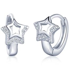 Unendlich U Fashion Hohl Stern Damen Creolen 925 Sterling Silber Zirkonia Ohrringe Ohrhänger Ohrschmuck Earring, Silber -