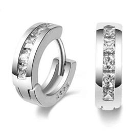 Wiftly Creole Damen Herren Maedchen 925 Sterling Silber mit Bling Bling Zirkonia Spikes Clip -