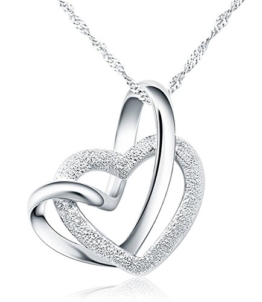 925 Sterling Silber Doppel liebe Herzen Halskette mit 45cm sterling Silber kette Schmuck -