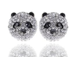 Alilang Silber Farbton Raum Kristall farbige Strass Panda Bären Kopf Bolzen Ohrringe -