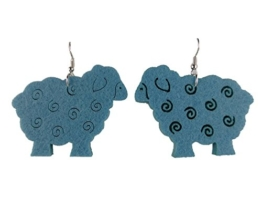 Ausgefallene Ohrringe Hänger blau XXL Schaf Schafe Schäfchen Wolle Filz 6738 -