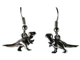 Ausgefallene Ohrringe Ohrhänger Hänger Vintage silberfarben Dinosaurier Dino Steinzeit 6670 -