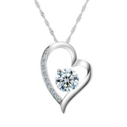 Chaomingzhen 925 Sterling Silber Damen Herz Halskette Anhänger Zirkonia Rhodiniert Kette -