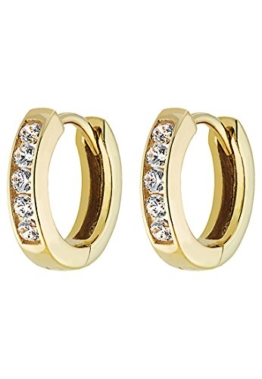 CHRIST Gold Damen-Creole 333er Gelbgold 10 Zirkonia One Size, gold -