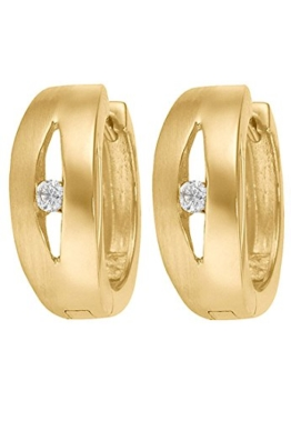 CHRIST Gold Damen-Creole 333er Gelbgold Zirkonia One Size, gold -