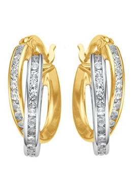CHRIST Gold Damen-Creole 375er Gelbgold, 375er Weißgold Zirkonia One Size, gold -